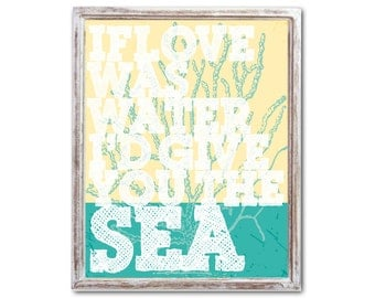 Teal and Yellow with Coral Typography Beach house decor