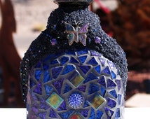Unique Mosaic Bottle with Van Gogh Glass Hand Crafted look great in your home W210