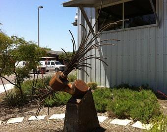 "Handmade steel sculpture metal art ""Roots"" industrial organic mix steampunk urban vintage recycled steel"