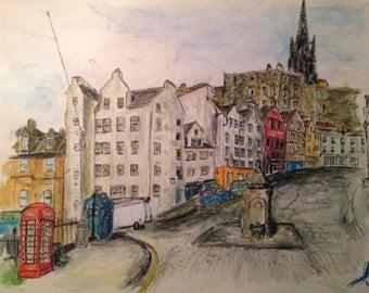 Print of watercolour painting of Victoria Street, Edinburgh