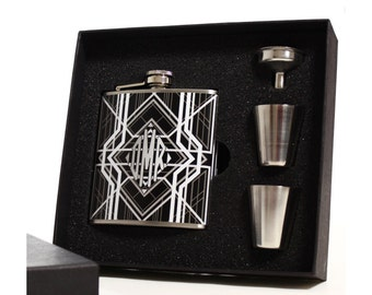 3 Hip Flask Gift Sets, Monogrammed Art Deco Flasks
