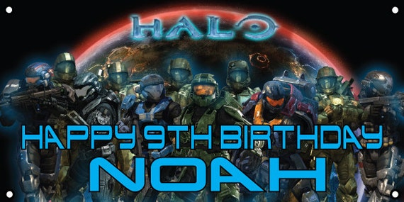Personalized birthday banner - 4ft x 2ft - Halo, xbox 360, video games