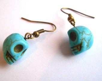 Turquoise Blue Cute Howlite Skull Earrings, Emo, Rock, Rockabilly, Retro