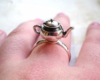 Alice in Wonderland Tea Pot Adjustable Ring, Tea party, Silver, Teapot, Silver, Metal