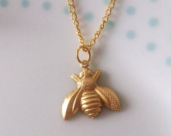 Cute Bumblebee Bee Gold Charm Necklace, Simple, Summer, Pretty, Animal, Retro, Layer, Pretty