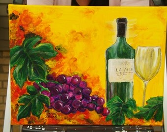 "8 X 10 painting of Grapes. Original Work done on wrapped Canvas. Titled "" Savor the Moment""."