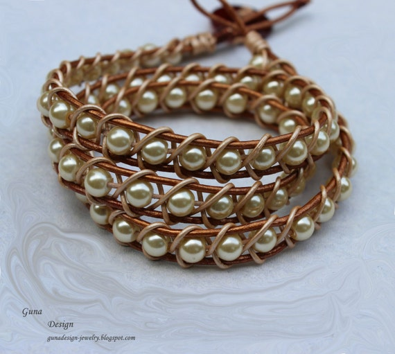 Plaited bracelet from leather cord and beads by gunadesign TUTORIAL