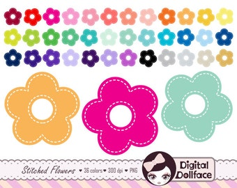 Stitched Flower Clipart, Daisy Clip Art, PNG Images, Digital Graphics Download