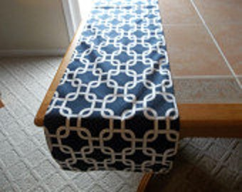 navy and white gotcha table runner