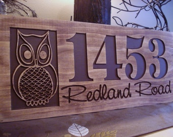 Carved Sign, Wooden Welcome Sign with Owl, Address Sign, Address Plaque, Outdoor Wood Sign, Outdoor Sign,  Benchmark Signs