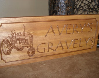 Personalized Carved Farm Sign Barn Signs Rustic Carved Plaques Wood Sign Tractors Field Plowing Benchmark Signs and Gifts Signs for Grandpa