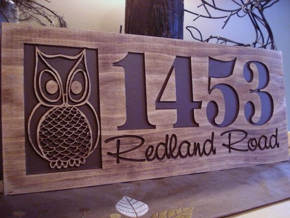 carved wooden welcome owl address sign nature inspired owl design best