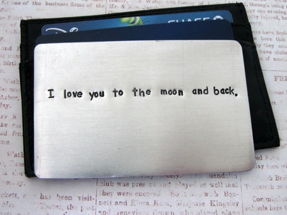 Aluminum Wallet Insert Card - Personalized Hand Stamped Metal - Gift Husband Boyfriend 10 Ten Year Anniversary