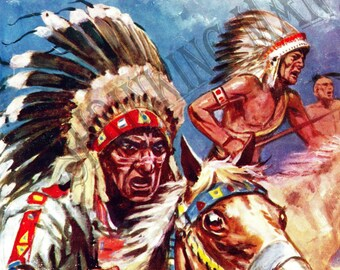 VINTAGE 1950's cowboy indians book jacket print (A4 and A5 mounted)