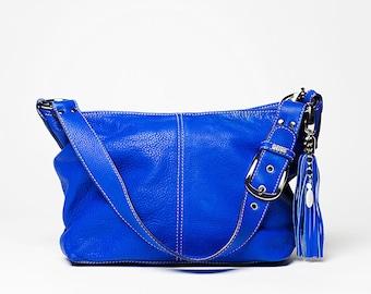 Handbag Classic/ full grain leather  small  size/ electric blue # 43