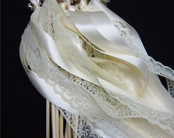 100 Ceremony Wedding Wands Double ribbon/lace with bells. Your choice of colors.