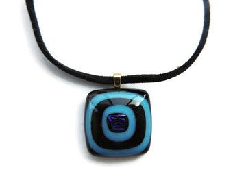 fused glass necklace, blue black glass pendant necklace, black light blue fused necklace, black light blue glass pendant, glass necklace