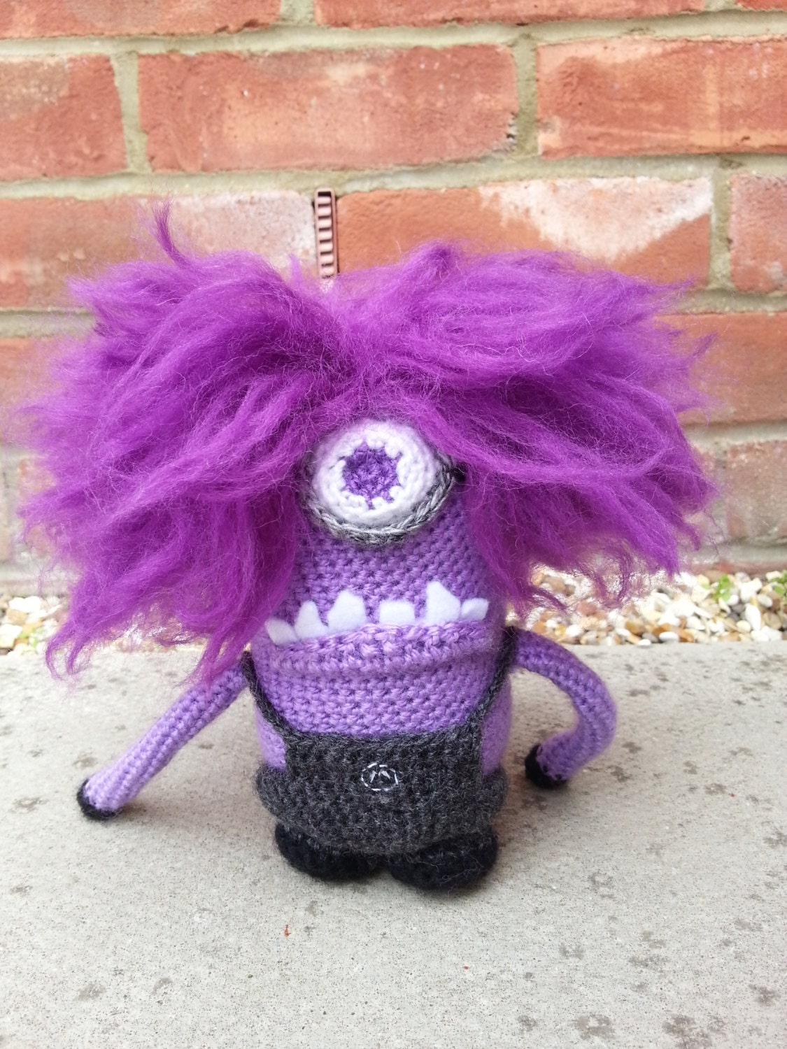 Amigurumi Minion Etsy : Evil Purple Minion Amigurumi Crochet Pattern by LoopyLousLoops