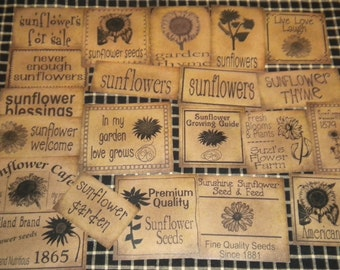 Set of (21) Assorted Sizes Sunflower Prim Pantry Labels