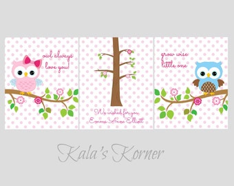 OWL NURSERY ART - Owl Print Set - Girls Nursery Decor - 3 piece print set - Custom Nursery Decor