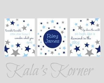 Nursery Art - Stars Nursery - Twinkle Little Star - Custom Name Nursery Art - Print Set