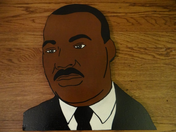 Martin Luther King Jr Wood Art Cut Out Head