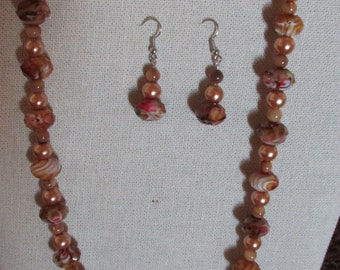 Caramel Necklace and Matching Earrings