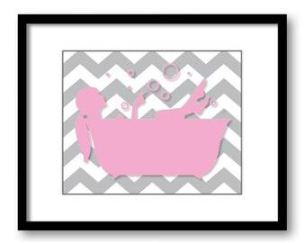 Bathroom Decor Bathroom Print Pink and Grey Girl in a Bath Ponytail Bathtub Bathroom Art Print Wall Decor Modern Minimalist