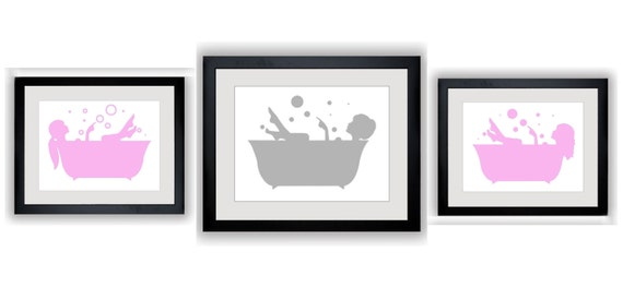Bathroom decor bathroom print set pink and grey girl in for Pink and grey bathroom decor
