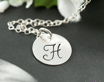 SET of 10 Ten silver initial necklaces, flower girl,bridal jewelry, bridesmaid necklace, bridal party jewelry gifts