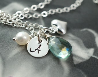 Initial necklaces, bridesmaids gift set of 6, white pearl stamped initial, bridesmaid gift, heart pendant, personalized