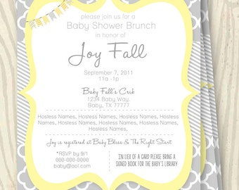 Yellow and Grey Baby Shower Invitation - 5x7