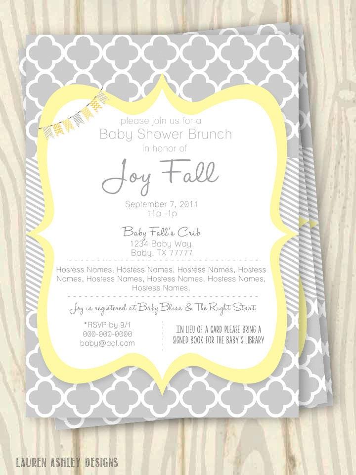 yellow and grey baby shower invitation 5x7