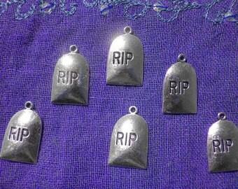 Gravestone Charm - 6 Charms - Halloween Charm - Tombstone Charm - Headstone Charm