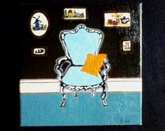Turquoise Chair with Orange pillow in art filled room. Miniature acrylic original painting.