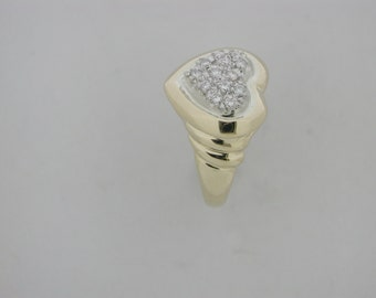 Natural Diamond Heart Ring Solid 14kt Yellow Gold