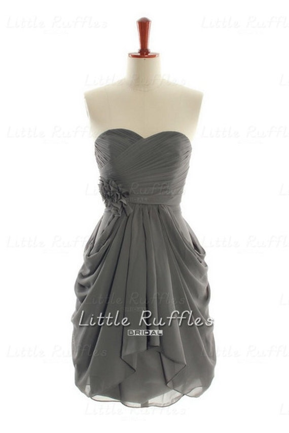 Dark Grey Bridesmaid Dress,Chiffon Prom Dress Grey,Chiffon Bridal Party Dress,Gray Cocktail Dress,Knee Length Grey Bridesmaid Dress(BCD211)