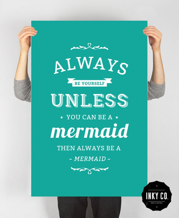 Typographic Quote, Printable File, Vintage Retro Poster - MermaidPrint