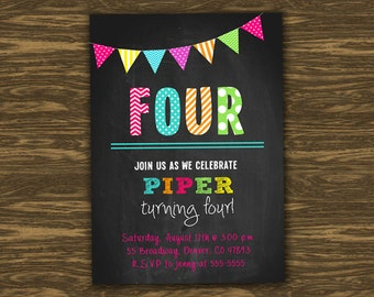 Chalkboard Girl Birthday Invitation - Printable - FREE pennant banner and thank you card with purchase