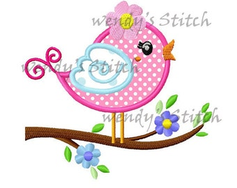 Flower bird on a tree applique machine embroidery design