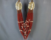 Papua New Guinea Seeds And Shells Long Tribal Necklace.Primitive Dowry Gift Neck Ornament Jewelry