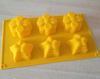 6-Star Flower soap mold jewelry mould Silicone Mold polymer clay mold Cake Mold Chocolate Mould Resin Mold Biscuit Mold mould fimo mold