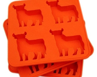 4-Cow Bull Ice Tray Ice Mold Flexible Silicone Mold diy Mold in Handmade