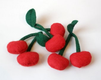 3 felt cherries