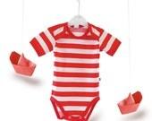 Onesie Red  White Striped  Undershirt Cardigan onesie - Bodysuit - Baby Shower Gift - Baby Clothing - Baby Bodysuit t-shirts -Trendy Baby