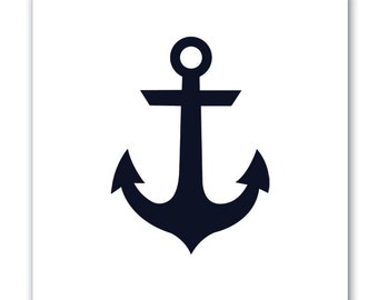 Canvas Art, Anchor, White and Navy