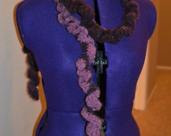 Ruffly, fluffy scarf in berry gradient