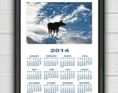 Framed Solitary Moose Hanging Calendar 2014 Wall Art Print, Home Decor Poster, Photo Animal Giclee Art Plant Illustration INSTANT DOWNLOAD