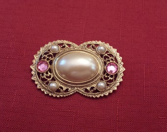Vintage 1980's Rhinestones and Faux Pearl Brooch