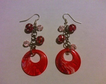 Red and Pink dangle earrings FREE SHIPPING
